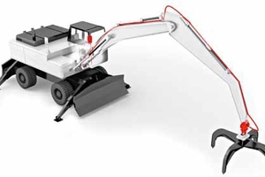 Excavator scale with the weighing electronics in the driver cabin and the measuring element at the grapple<br />