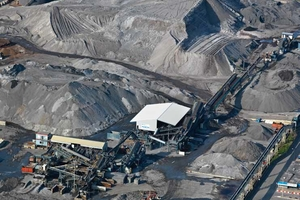 Aerial view of the slag processing, Heros