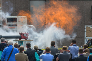 Explosion demonstrations at the trade show