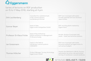 "<div class=""bildtext_eng"">Those who come to the IFAT to inform themselves about the latest technologies and methods of producing refuse derived fuels, should head to the Eggersmann stand</div>"