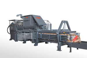 """<div class=""""bildtext_eng"""">The fully automatic channel baling press HSM VK 6215 is the economical solution for professional waste disposers and industrial applications</div>"""