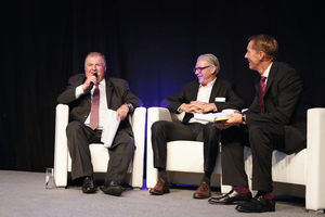 "<div class=""bildtext_eng"">From left to right: The Raw material producers Anton Wolfsberger, Head of Marketing Consumer Products and Pipe at Borealis, and Alexander van Veen, Managing Director / Commercial, Procurement &amp; TS&amp;D at Braskem Netherlands, gave insights into their view of a sustainable plastics industry in a discussion, moderated by Steven Chaid</div>"
