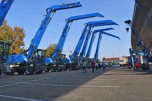 Exhibition of various Terex Fuchs MHL models on the factory premises