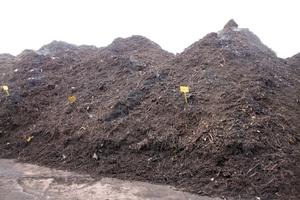 """<div class=""""bildtext"""">Der zerkleinerte Grünschnitt wird dann 12 bis 14 Wochen in Mieten gelagert, wobei der Kompostierungsprozess einsetzt</div>"""
