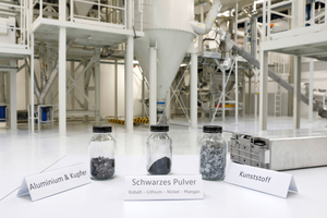 """<div class=""""bildtext"""">Volkswagen recycling plant with samples of the separated batterycomponents</div>"""
