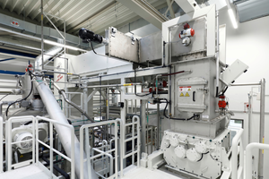 """<div class=""""bildtext"""">Plant area with shredding machine, airlock technology and modulefeeding system</div>"""