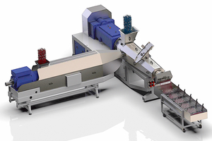 """<div class=""""bildtext_en"""">5 The MAS recycling plant is the combination of a single-screw extruder for plasticizing the pre-cleaned PE-flakes (left) and a twin-screw extruder for efficient degassing and the potential for up-cycling through compounding with additives</div>"""