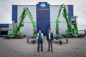 """<div class=""""bildtext_en"""">Pleased with the reliable operation of the SENNEBOGEN material handlers at the waste disposal center in Emsdetten (f. l.): Plant Manager Helmut Heitjan and Sales Representative </div><div class=""""bildtext_en"""">Johannes Lohmann Jr.</div>"""