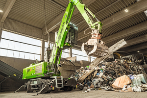 """<div class=""""bildtext_en"""">Hufnagel Service owns one of the most modern commercial waste sorting facilities in Germany in a hall: the heart of the unit is now the eco-friendly electric material handler SENNEBOGEN 821 E </div>"""